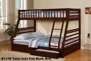 Bunk Bed Twin over Full Size B-117E Espresso Finish $459.00 *