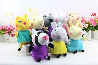 8Pcs Peppa Pig Friends Plush Doll Stuffed Toy 8  Tall Suzy Sheep Rebecca Rabbit