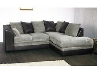 **7-DAY MONEY BACK GUARANTEE!**Benson Jumbo Cord Corner Suite or 3 and 2 Sofa Set -SAME DAY DELIVERY