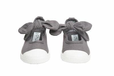 Chus Athena Grey Canvas Mary Jane Bow Girl Shoes