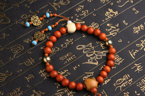 Freedom Happy Buddha 3D Wood Carved Chinese Kallaite Amber Beads Car Pendant