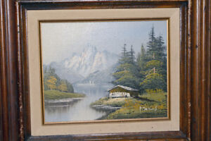 Original oil painting with frame, Vintage, signed. Cabin by lake