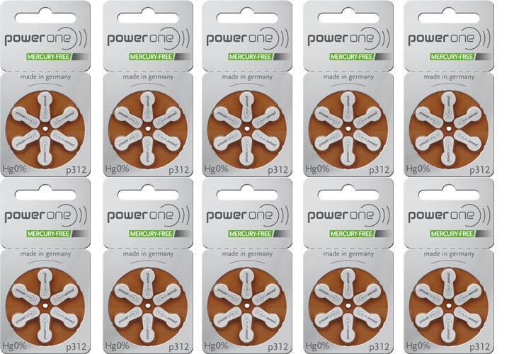 30 x Varta Hörgerätebatterien Typ 312 Power One 5 x 6er Blister P312 PR312H