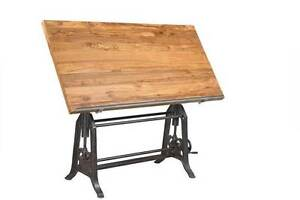 FRENCH DRAFTING TABLE MADE OF RECLAIMED TIMBER AND CAST IRON Blakeview Playford Area Preview