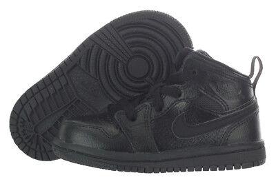 Nike Air Jordan 1 Mid Stiefel Schwarz auf Junge Kleinkind Basketballschuhe (Kleinkind Nike Basketball Schuhe)