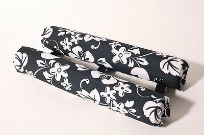 "Vitamin Blue 18"" Roof Rack Pads - Non Logo Blk Floral (MADE in USA) REGULAR PADS"