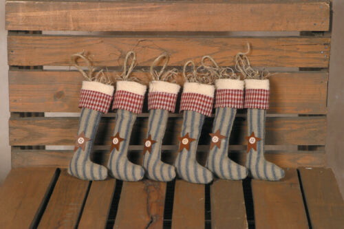 New Primitive 6 MINI STOCKING RUSTY STAR ORNAMENTS Christmas Tree Ornament