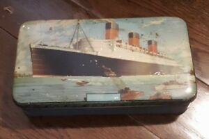 Vintage RMS Queen Mary Ocean Liner Tin Box