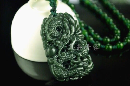 Natural Green Hand-carved Chinese Hetian Jade Pendant Dragon