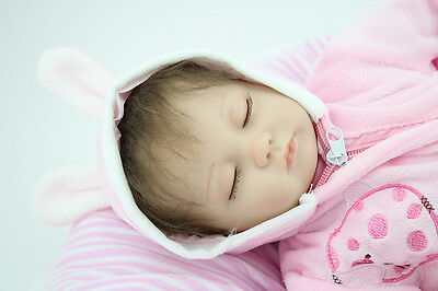 18''Handmade Lifelike Baby Girl Doll Silicone Vinyl Reborn Newborn Gift Sleeping on Rummage