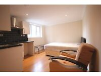 Studio flat with modern kitchenette, fully tiled shower room, wood floors & high ceilings.