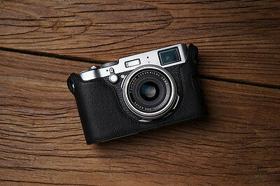 Candid Real Leather Half Camera Instance Bag Cover for FUJIFILM X100F Black Color