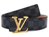 Men's Louis Vuitton belt grey black lv belts