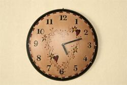 New Country PRIMITIVE STAR HEART WALL CLOCK Berries Vine Wood Dome Rustic