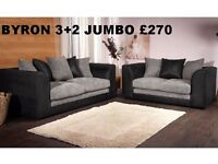 BYRON JUMBO CORD CORNER OR 3+2 SEATAER**BRAND NEW**EXPRESS DELIVERY**MADE IN UK