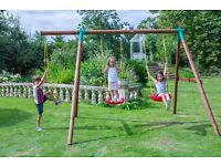Outdoor Double Swing Set with Rope Climbing Ladder by Little Tikes Brand New Sealed