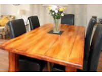 Large modern wooden table plus 6 leather brown chairs