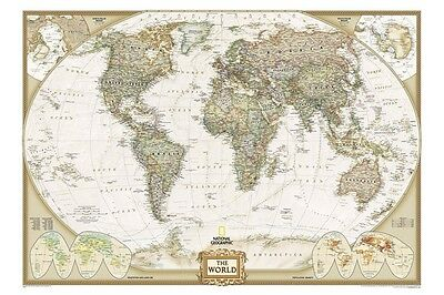 EXECUTIVE WORLD MAP by NATIONAL GEOGRAPHIC Educational Home Office Wall Decor Executive World Wall Map