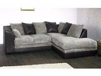 **7-DAY MONEY BACK GUARANTEE!**Benson Jumbo Cord Corner Sofa or 3 and 2 Sofa Set -SAME DAY DELIVERY