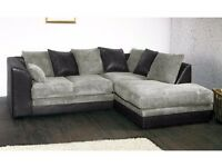 **7-Day Money Back Guarantee!!**- Benson Jumbo Cord Corner Sofa Suite - SAME/NEXT DAY DELIVERY