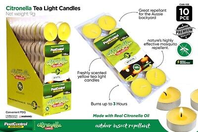 10x Citronella Tealight Candle Tea Light Candles up to 3 Hours Tea Lights -