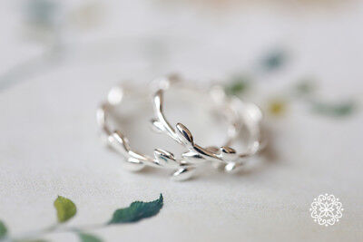 OLIVE BRANCH TREE LEAF RING -925 Sterling Silver Open Adjustable Pinky Midi Ring Olive Tree Branch