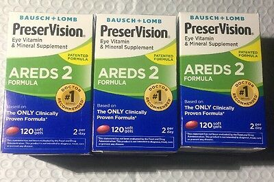 3 Bausch Lomb PreserVision AREDS 2 Formula Eye Vitamin 360 Softgels exp (Bausch And Lomb Preservision Areds 2 Formula)