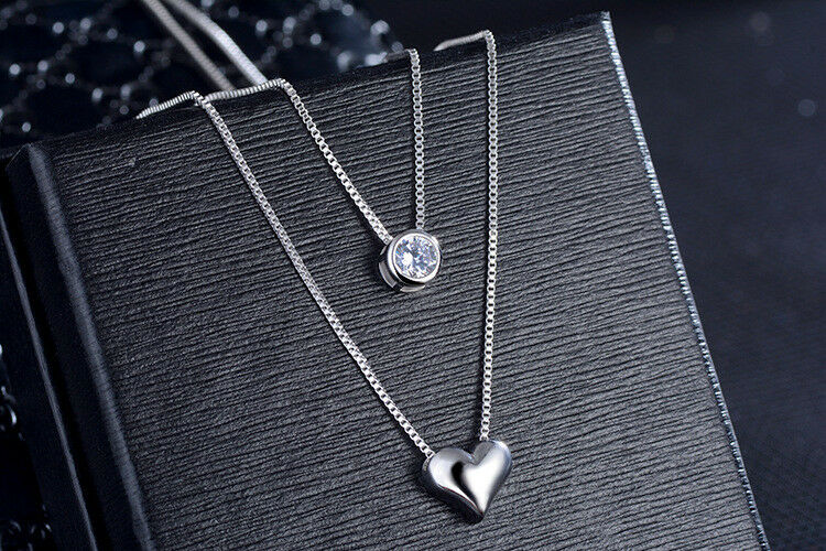 Jewellery - Two Layer Heart Crystal Pendant 925 Sterling Silver Necklace Womens Jewellery UK