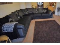 Large Corner Sofa With Dock & Speakers. Black & Grey. Very Good Condition.
