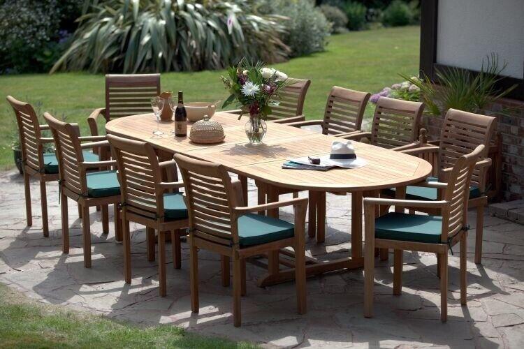 Humber Teak Antibes Giant 10 Seat Grade A Garden Dining Patio Set Foot Table