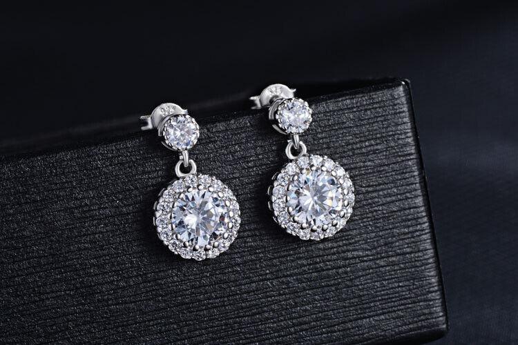 Jewellery - 925 Sterling Silver Round Drop Dangle Stone Stud Earrings Womens Jewellery Gift