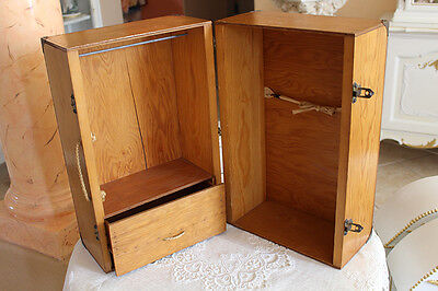 Vintage Doll Trunk Wood Wardrobe Carry Case Armoire Cabinet Fits American Girl  - Girls Trunk