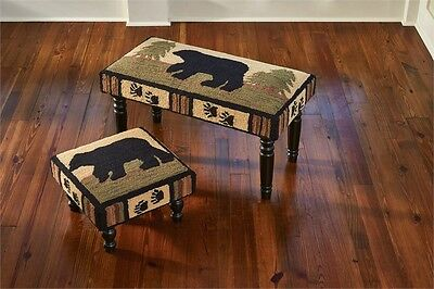 PRIMITIVE COUNTRY ADIRONDACK BLACK BEAR HOOKED DECORATIVE STOOL By PARK DESIGNS ()