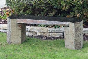 Banc de pierre naturelle pour jardin, 60 po