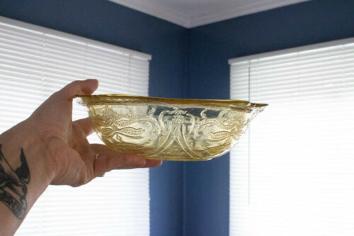 FEDERAL MADRID AMBER YELLOW DEPRESSION GLASS VINTAGE LARGE MIXING BOWL 8 IN.