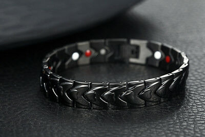 Mens Black Stainless Steel Magnetic Therapy Pain Relief Chain Bracelet +Box B546