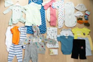 NEW 0-3 moths Boy Clothes (over 30 items, tags still on)