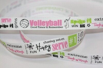 """Volleyball Game Grosgrain Ribbon 1/2"""" - 5 yard increments - Free Shipping"""