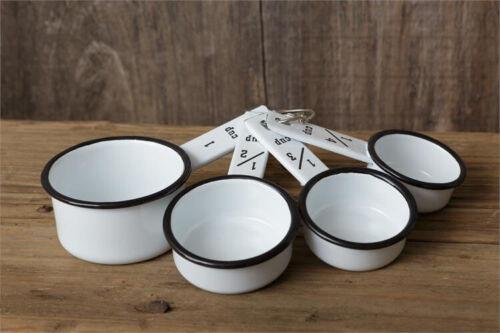 Set of 4 ENAMELWARE MEASURING CUPS - White w/ Black trim - Farmhouse - Kitchen