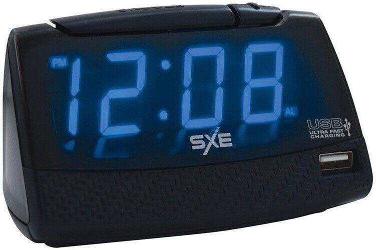 Sxe Ultra Fast USB Charging Digital Alarm Clock (Black) 86034
