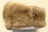 Vintage mink pillbox hat with satin top and edge - collectible/t
