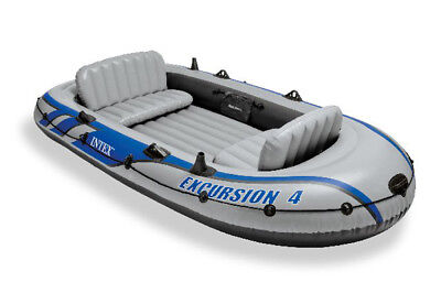 Intex Excursion 4 Inflatable Rafting/Fishing Boat Set With 2 Oars | 68324EP