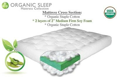 "THE FUTON SHOP 8"" NATURAL HARMONY ORGANIC COTTON/FOAM MATTRESS CHOOSE YOUR SIZE"