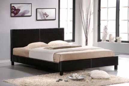 Brand New PU Leather Bed Frame in Black or White from $130