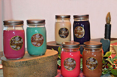 Highly Scented Soy Candles 6 Mason Jar 16 oz, Hand Poured, You Pick Your Scents!