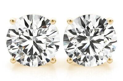 0.90 carat Round cut Diamond Studs 14K Yellow Gold Screw Back Earrings H SI1 GIA