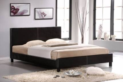 【Brand New】PU Leather Bed Frame in Black or White From $130