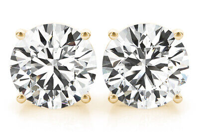 0.88 carat Round Diamond Studs 18k Yellow Gold Earrings H SI1 GIA 3x Excellent #
