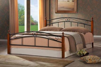 【Brand New】High Quality Iron Bed Frame with Wooden Legs