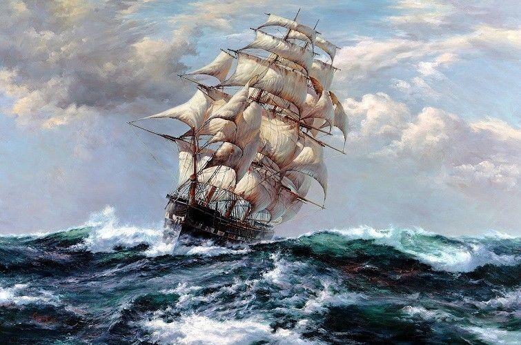 Image tags:art, ship, sailboats, sea, sunset, waves, clouds